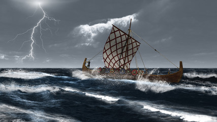 Viking Longship in an Atlantic Storm