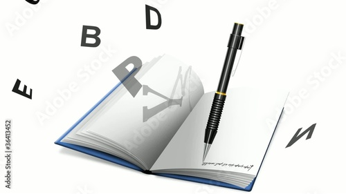 Video book or notebook and pencil