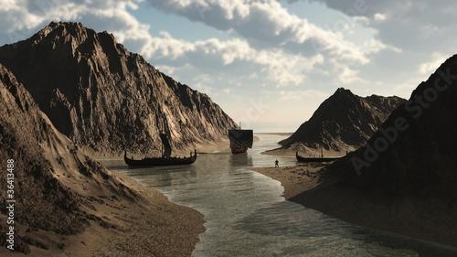 Viking Longships in Icelandic Inlet - 36413488