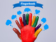 Colorful happy finger smileys with fingerbook sign