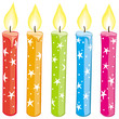 Vector colorful starry candles set. Gradient free.