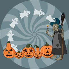 Old witch with candle in hand, ghosts & five  pumpkin heads