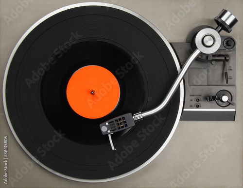 canvas print picture Record player with vinyl record