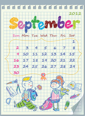 Calendar for September 2012. The week starts with Sunday