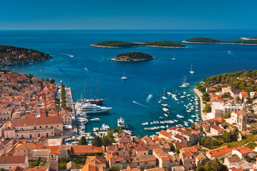 Harbor of old Adriatic island town Hvar. High angle view.