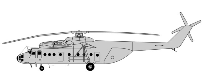 Vector illustration of high detailed transport helicopter
