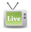 "Cartoon-style TV Icon with ""Live"" wording on screen"