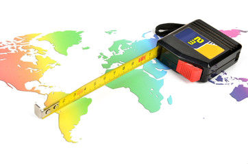 World map and steel tape