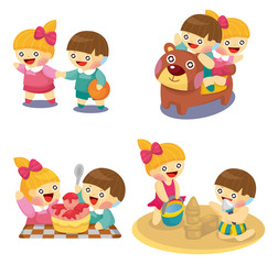cartoon kids playing set