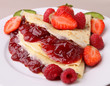 pancake with strawberry jam