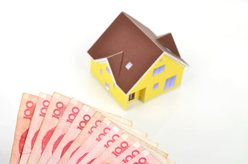 Chinese currency and model house