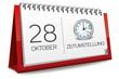 Kalender rot 28 Oktober Zeitumstellung Uhr