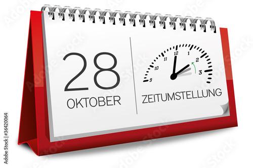 Kalender rot 28 Oktober Zeitumstellung Uhr 2
