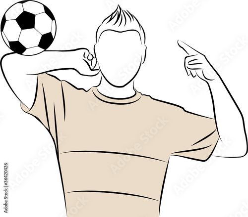 Cartoon athletic man plays football against white background