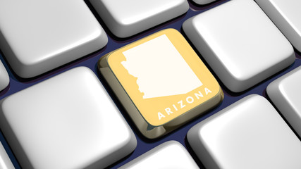 Keyboard (detail) with Arizona map key