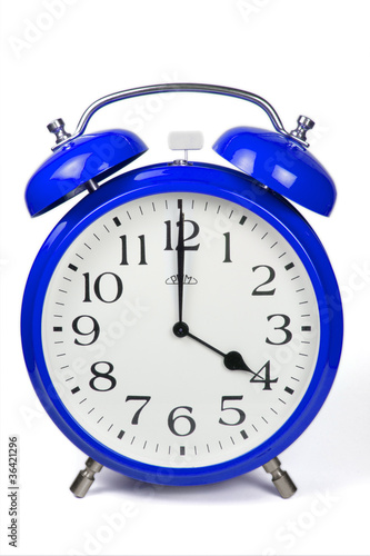 Wecker 4 Uhr / Four a clock  - blau / blue