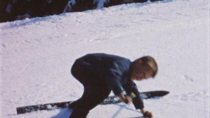 Junge fahrt Ski (8 mm Film aus den 60er Jahren)