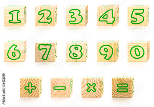 The Numbers wooden cubes isolated on white.