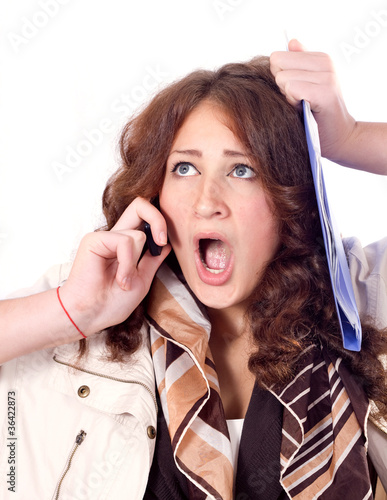 Horrified business woman