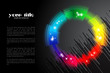 black background / banner with rainbow colored shape / logo