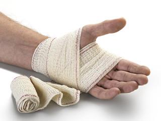 Medicine bandage on human hand