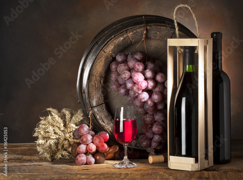 still life with red wine in box