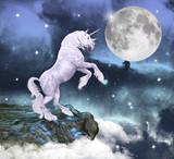 Unicorno in uno scenario incantato poster