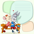 Little mouse kissing shy rabbit on text background
