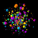 Fototapety Fly colorful 3d cubes background