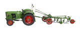 nostalgic toy tractor with plowshare poster