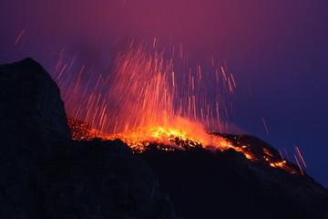 Erupting volcano Etna in Sicily