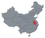mapa Číny, vesničtí zvýrazněny