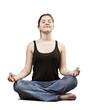 young woman practicing yoga in the lotus position, isolated on w