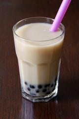 black bubble-tea with milk