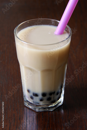 black bubble-tea with milk