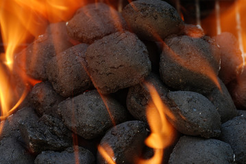 macro charcoal barbecue briquettes