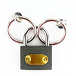 Closed padlock on white background