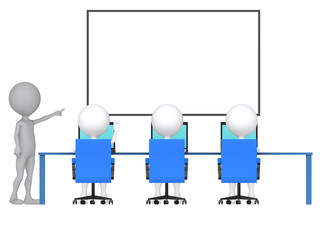 3d person with pointer in hand close to board. Concept of educat