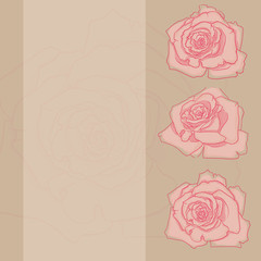 card with vintage roses