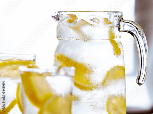 tray with glasses of lemonade.