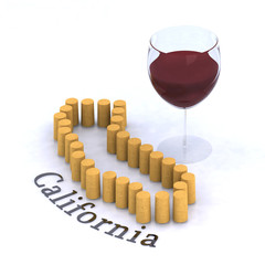 california map with cork and glass of red wine