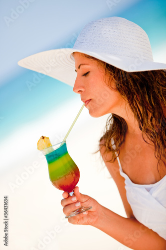 Woman drinking a refreshing beverage