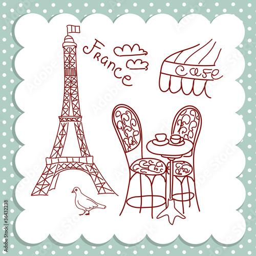 Poster Doodle Cafe in Paris
