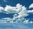 Sailing boats on the sea and blue sky