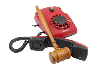 Phone and gavel isolated, legal consulting concept