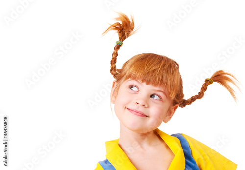 Little girl with red braided hair