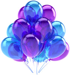 Balloons party birthday blue purple decoration of occasion