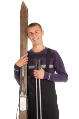 young  man  with old wooden ski