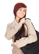 beautiful student woman with laptop bag