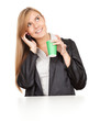 calling business woman with mobile phone